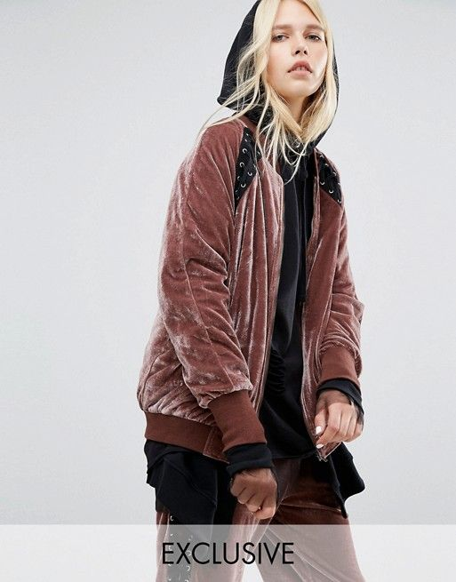 Story Of Lola Slouchy Bomber With Lace Detail In Velour