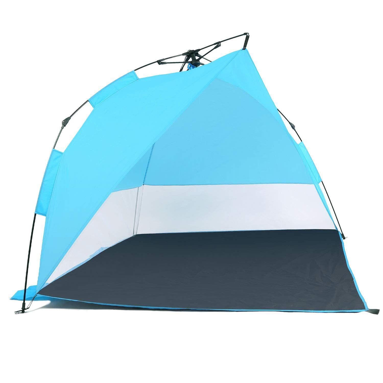 Odoland Easy Up Beach Tent Sun Shelter Anti Uv Upf 50 Sun Shade Instant Pop Up Beach Umbrella Tent Sun Sport Shelte Beach Tent Beach Umbrella Tent