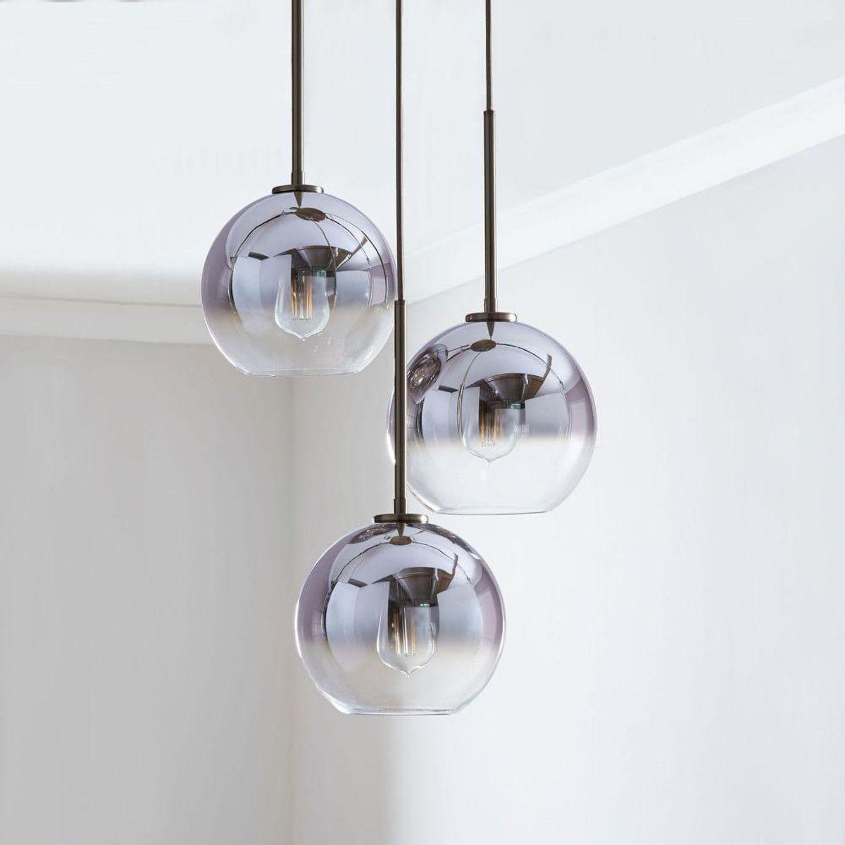 Sculptural Glass 3 Light Globe Chandelier Clear   Globe