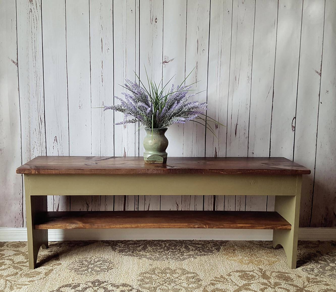 "32"" Rustic Bench Entryway, Shoe Storage Shelf, Small"