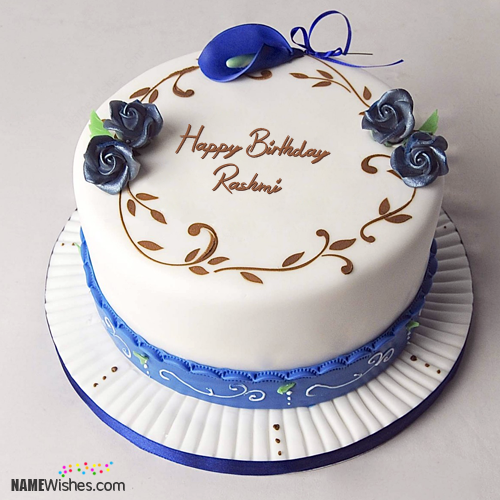 The Name Rashmi Is Generated On Simple Birthday Cake With Name