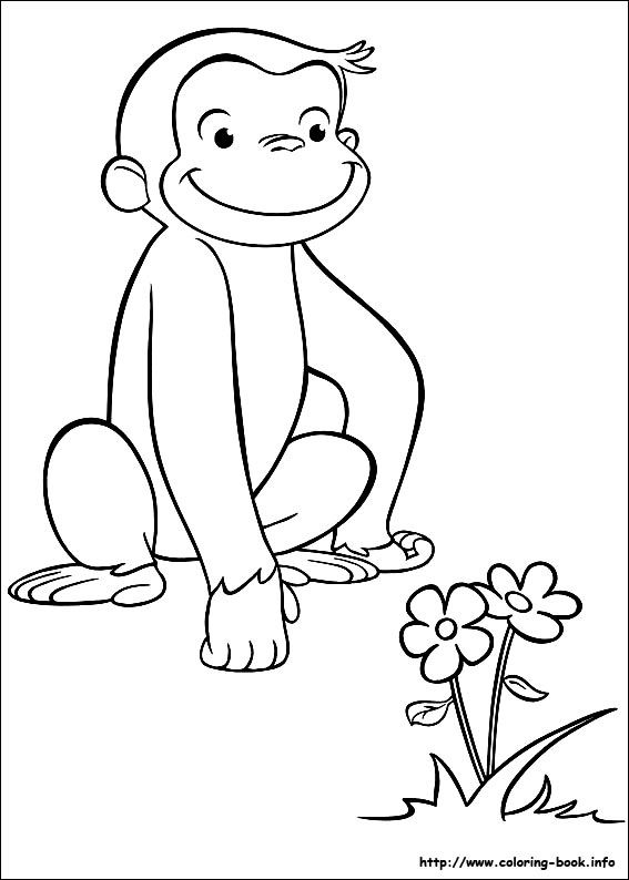 George Coloring Page Printouts For Favor Bag Monkey Birthday2nd