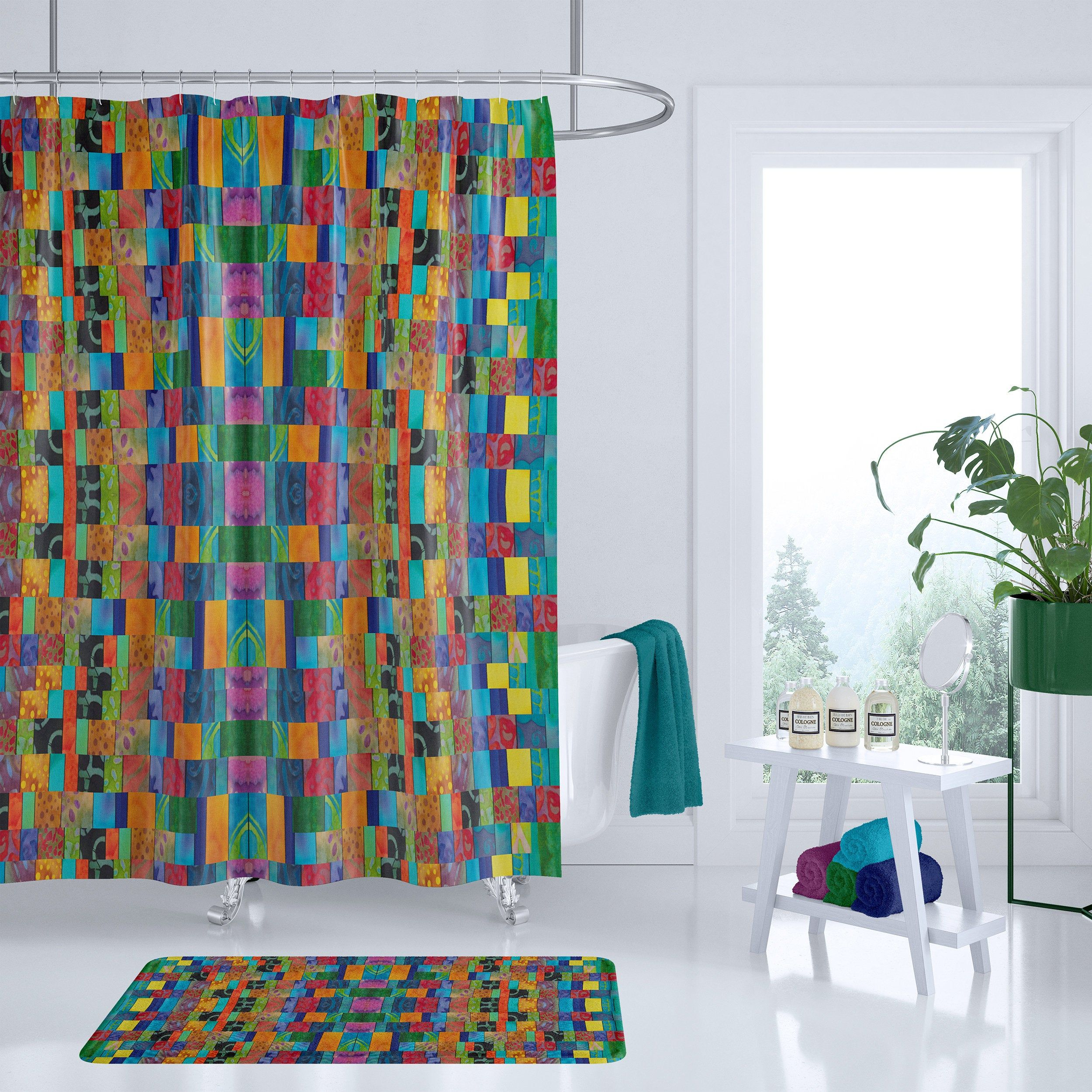 Patchwork Shower Curtain Blue Red Green Turquoise And Jewel