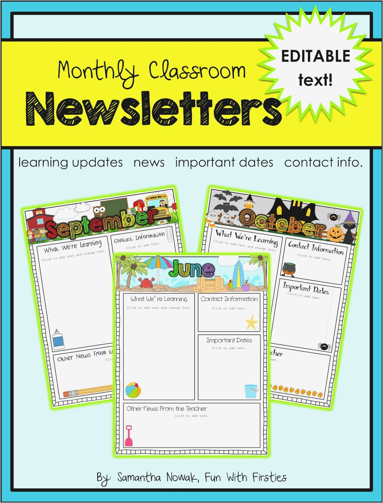 Free Editable Newsletter Templates For Te Unique School Word