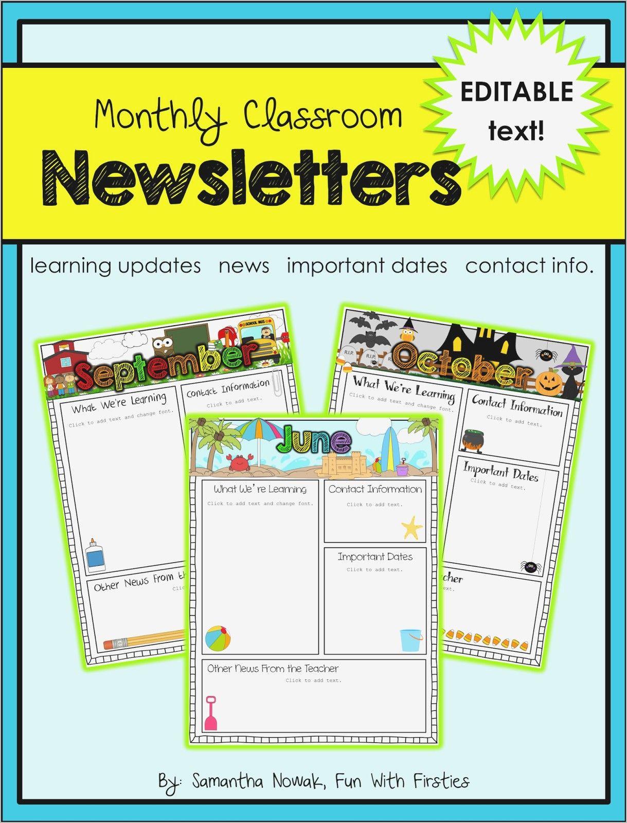 12 Printable Preschool Newsletter Templates Pdf Docs