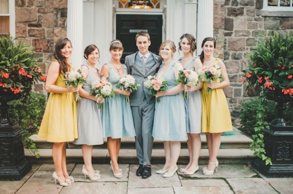 yellow, gray, and blue bridesmaids.