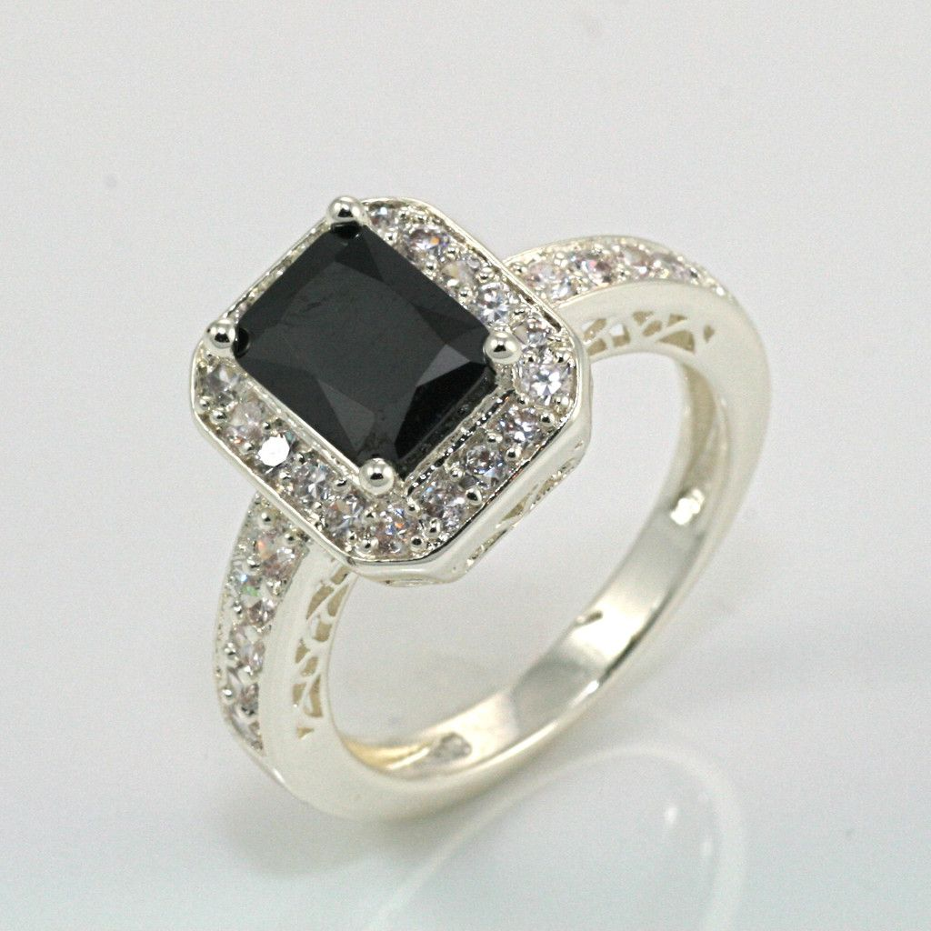black onyx wedding ring Emerald Cut Black Onyx Ring would be a very exotic and unique engagement ring
