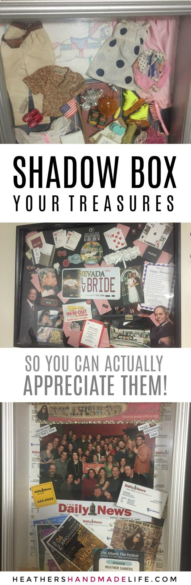 How to shadowbox your mementos so you can actually appreciate them {Heather's Handmade Life}