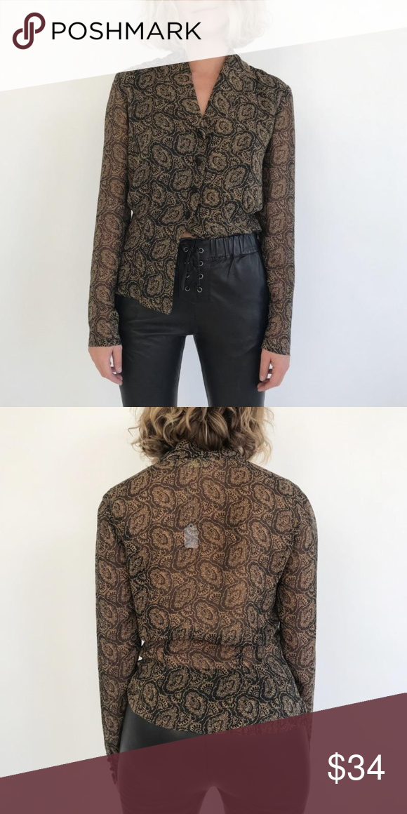VINTAGE DANA BLOUSE SIZE Small DETAILS Black and brown blouse with knotted button detail BRAND Vintage MODEL 5'3 MATERIAL 100% Silk CONDITION Great All items have been previously worn unless otherwise noted. Vintage Tops Blouses