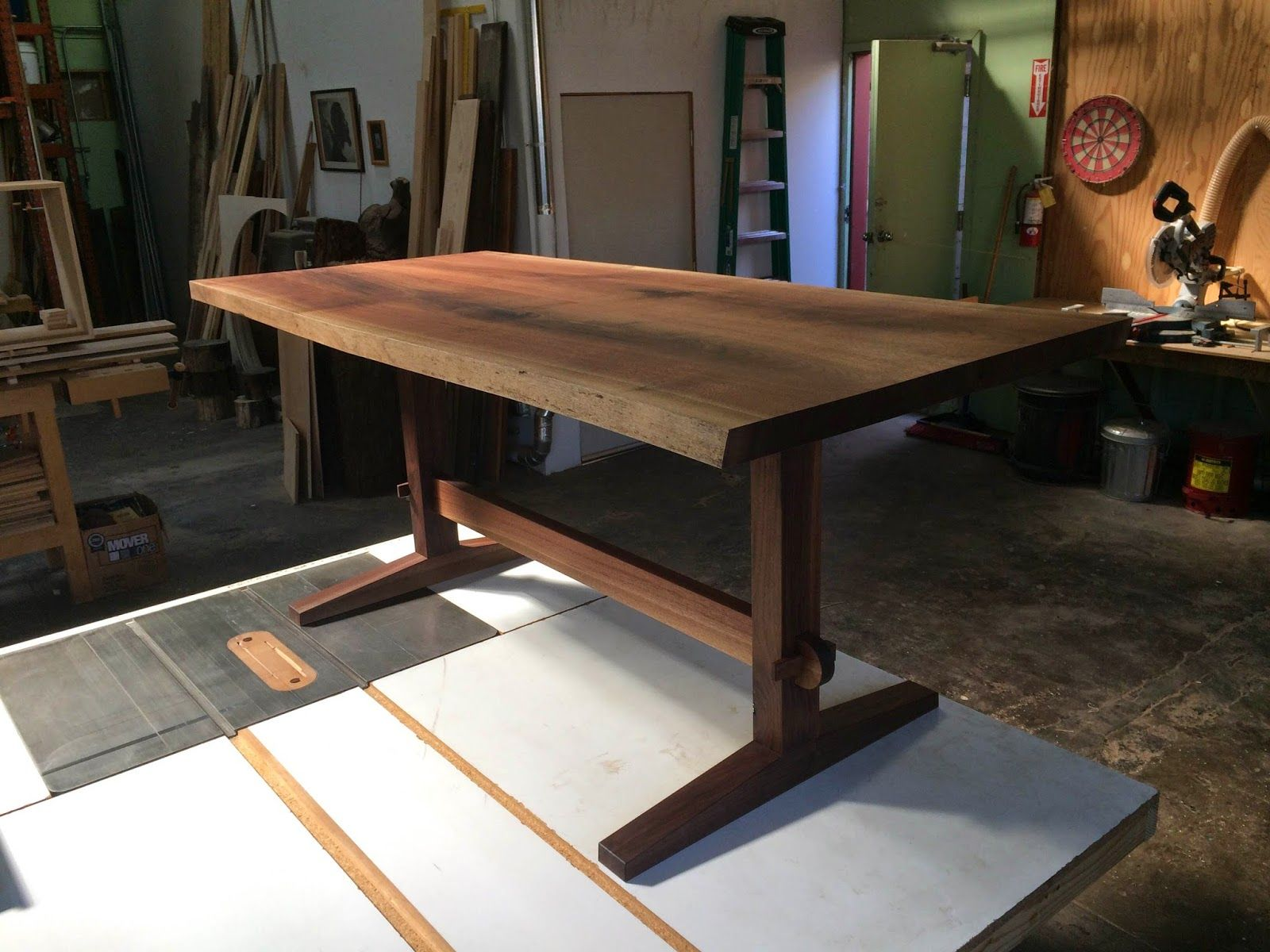 Walnut Trestle Table With Live Edge Live Edge Dining Table Live