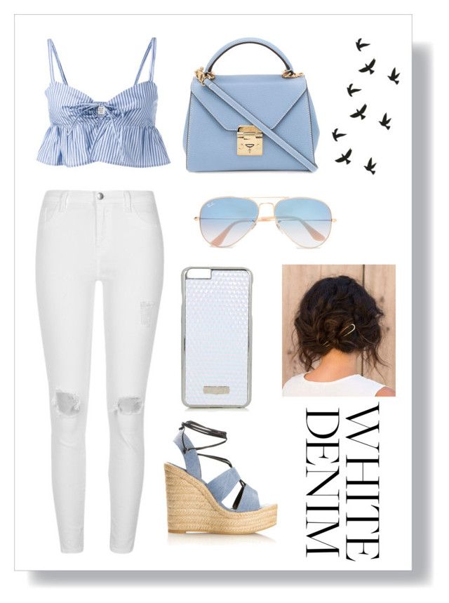 """""""Pastel blue White Denim"""" by fluffyflavi on Polyvore featuring River Island, Maryam Nassir Zadeh, Yves Saint Laurent, Mark Cross, Ray-Ban and Skinnydip"""
