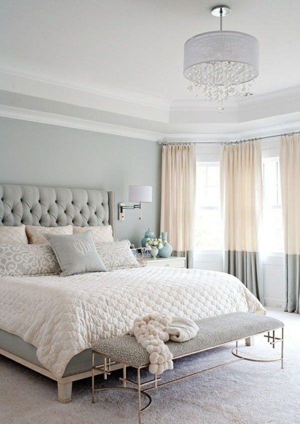 klassisches beige grau Schlafzimmer Leder Bett Kopfteil ...