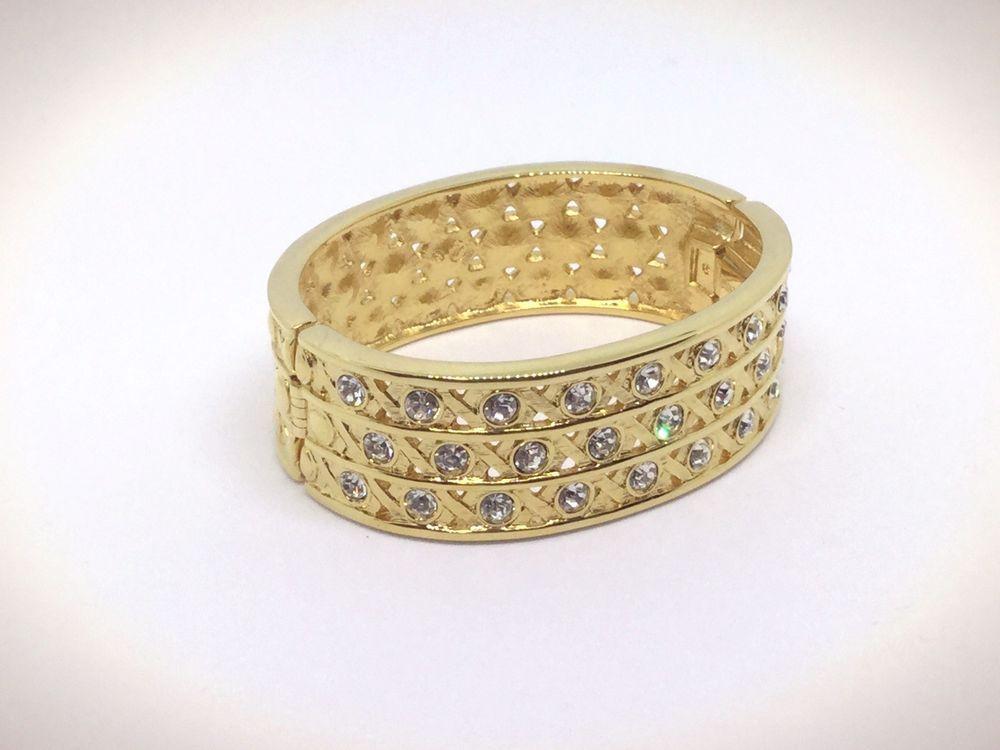 dcae6f265 Swarovski Swan Signed Gold-Plated Crystal Hinged Wide Bangle Cuff Bracelet  | eBay