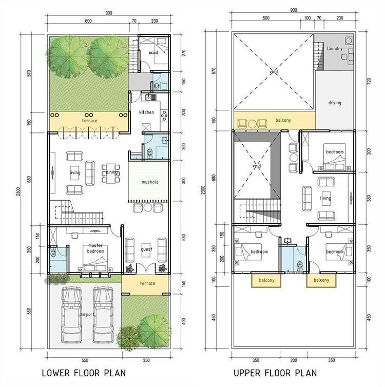 Rumah 2lt Di Lahan 9 X 23m Good Design For Everyone With Affordable Price Desain Denah 250rb 100m2 Luas Bangunan Silahka Rumah Desain Denah Rumah