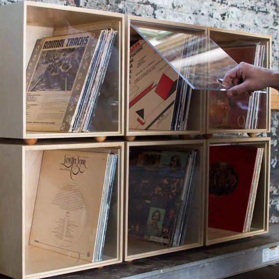 Commande Pour Sara Et Zach Rangement Empilable Cube Clair Porte Custom Noir Laque Vinyl Record Storage Record Storage Vinyl Storage