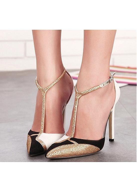 Pointed Toe Suede & PU Heels | Pumps heels, Heels