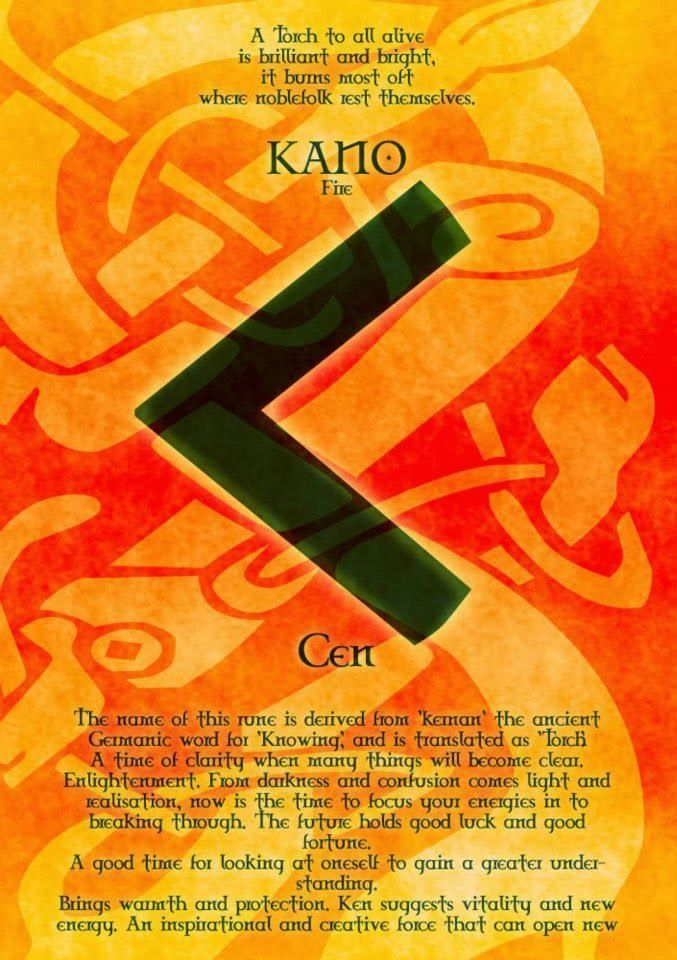 Runes - Kano   Kenaz   Norse runes, Runes, Rune stones