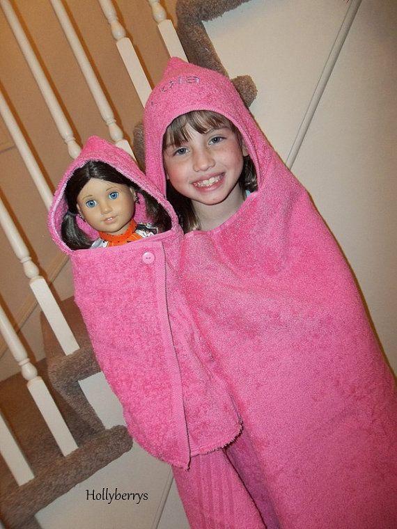 American Girl Doll Hooded Towel Set