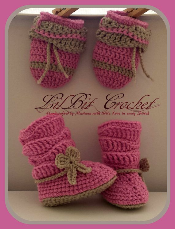Crochet Slouchy Booties with Mittens by LilBitCrochet