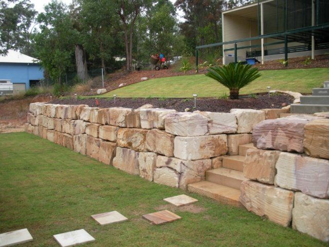 sandstone retaining wall and steps - Timber Retaining Wall Design