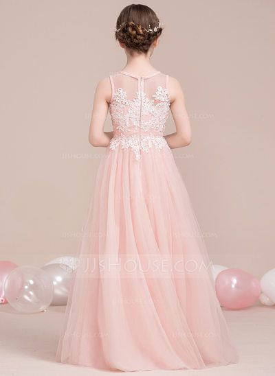 639aef51983 A-Line Princess Scoop Neck Floor-Length Beading Sequins Zipper Up Regular  Straps Sleeveless No Pearl Pink General Tulle Junior Bridesmaid Dress