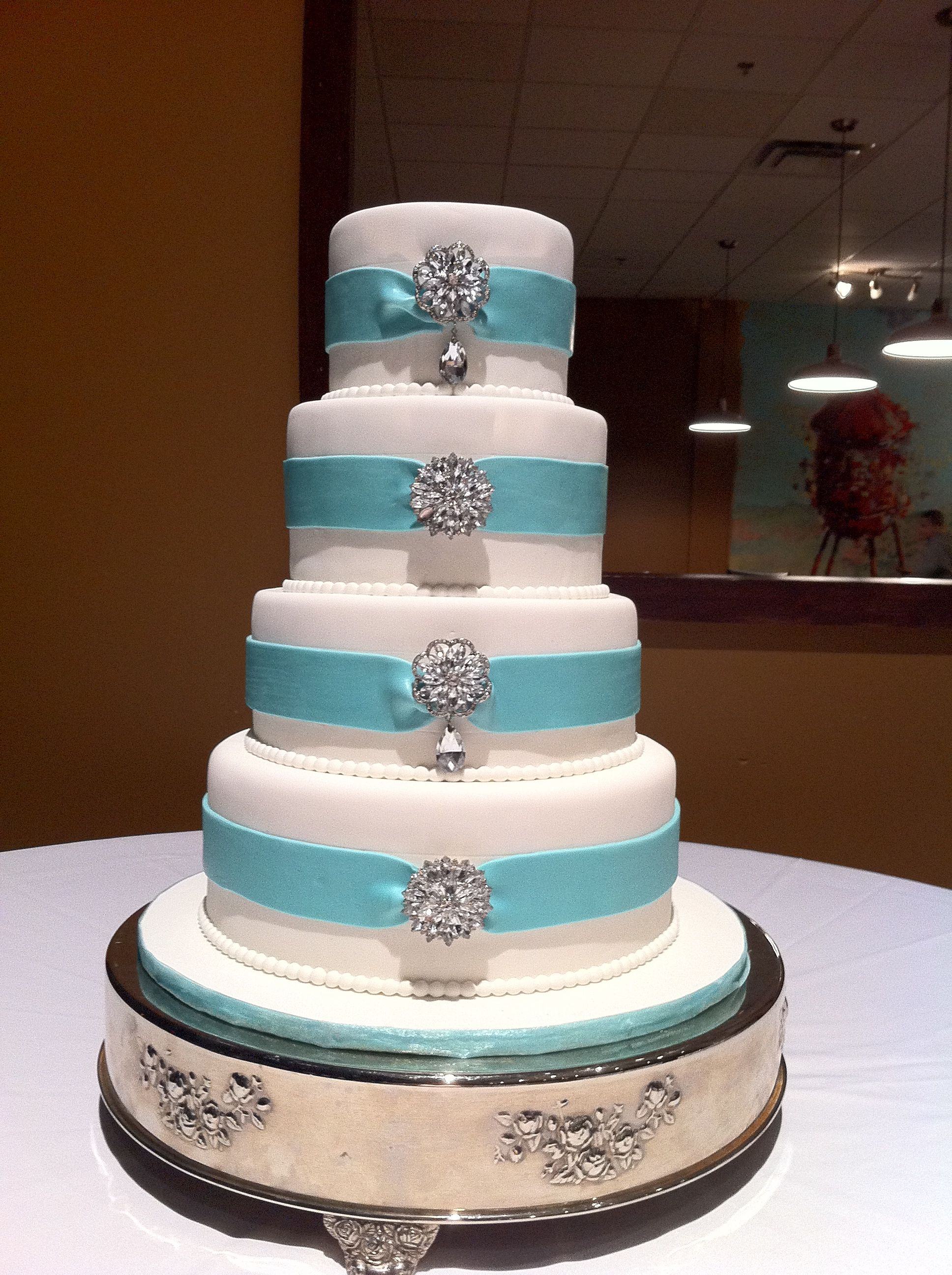 Tiffany Blue & Brooches Wedding Cake (original design by Jay Qualls) by Renay Zamora @ Sweetface Cakes, Nashville, TN.  Delivered to Sodium, Franklin, TN.