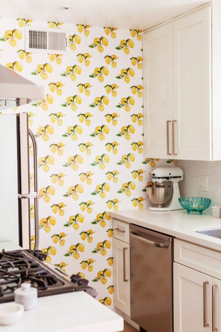 Kitchen Lemon Removable Wallpaper Printed By Tempaper Com Images Courtesy O Peel And Stick Wallpaper Tiny Apartment Decorating Contemporary Wallpaper Designs