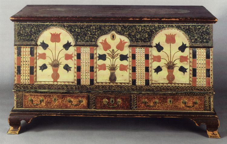 Good Pennsylvania German Dower Chest (Writing   Props)