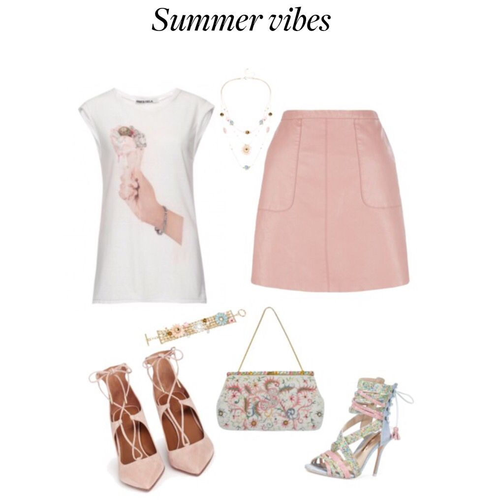 @pamandgela summer vibes #graphictees #melissastees #polyvore #ootd #mystyle #pamandgela #pxgstyle #graphictees #summerstyle #bloggerstyle love this Pam & Gela summer vibe graphic tank paired with a pink leather mini skirt and colorful lace up heels and bag.