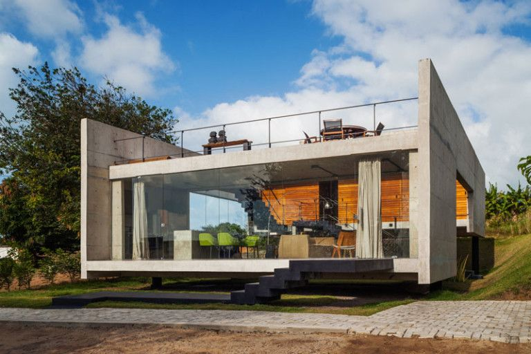 This House Is Divided In Two Separate Parts Connected By Outside Stairs In 2020 Concrete House Cheap Building Materials Facade House