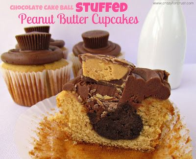 Chocolate Cake Ball Stuffed Peanut Butter Cupcakes - Crazy for Crust