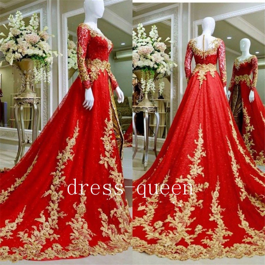 Nice Great Sparkly Muslim Indian Wedding Dresses Red Gold Appliques ...