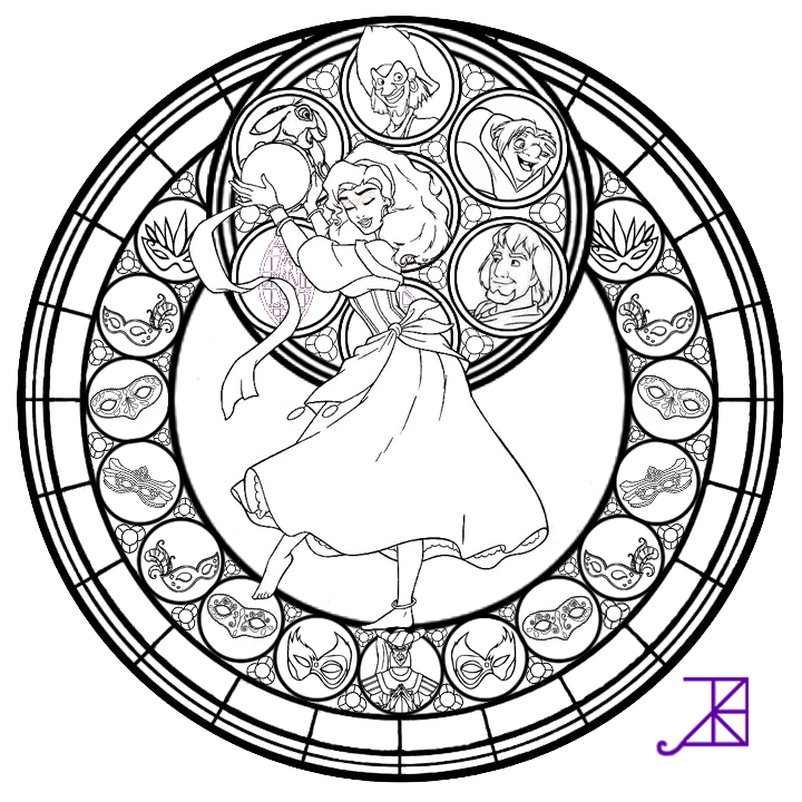 Esmeralda Stained Glass Line Art By Akili Amethyst Deviantart Com On Deviantart Coloring Pages Disney Stained Glass Disney Coloring Pages
