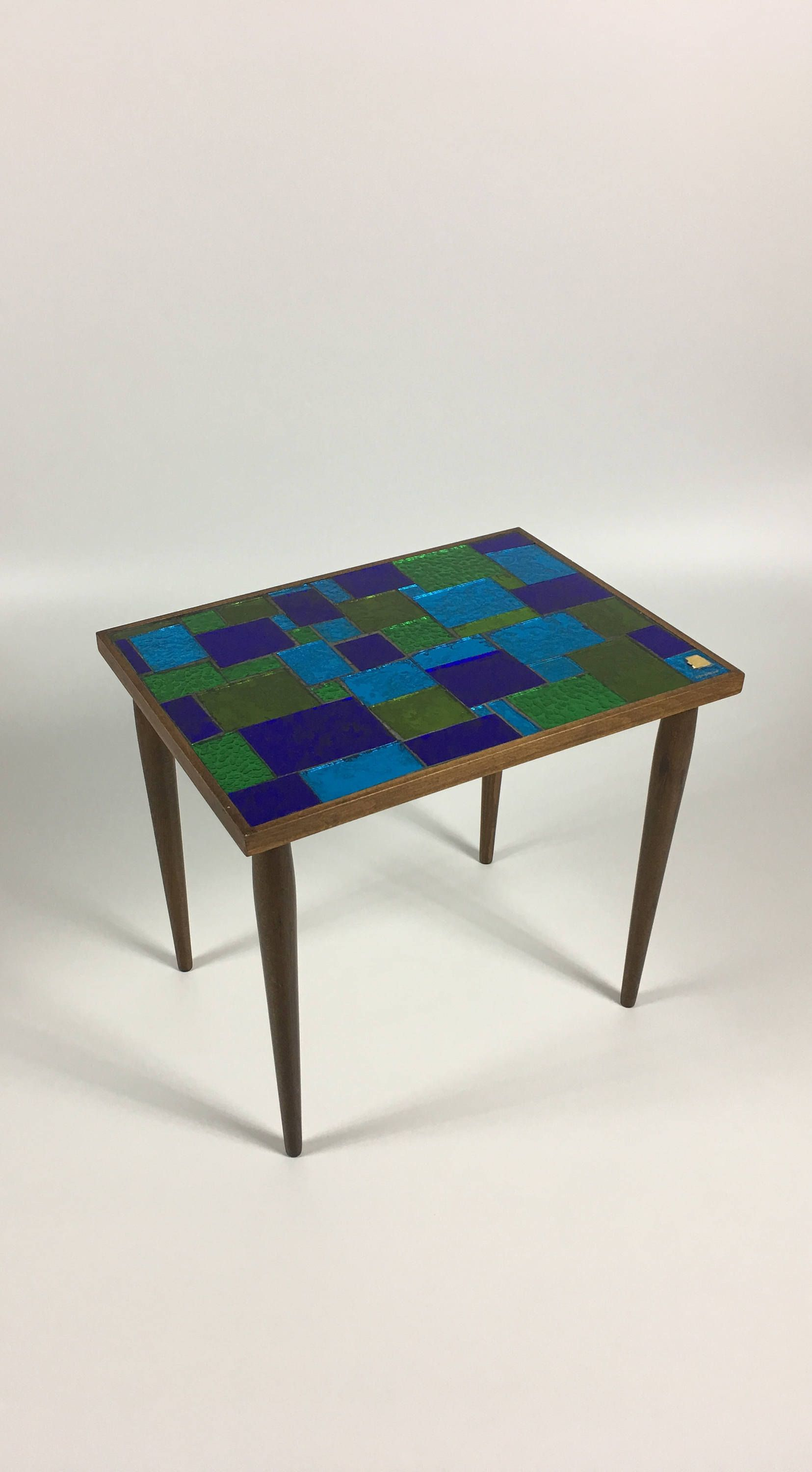 Vintage Georges Briard Mosaic Glass Tile Table Small Side Table