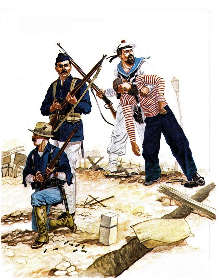 British, US, French and Russian naval marines in China