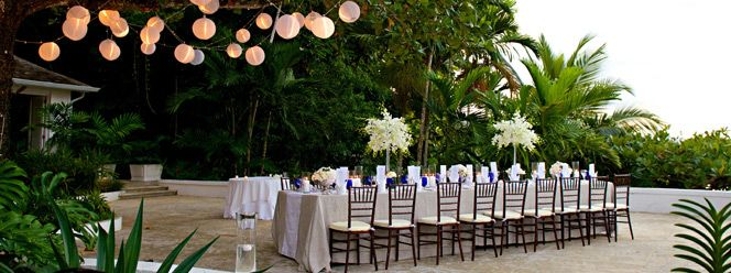 Beautiful Wedding Reception Setup On Hanover Terrace At Round Hill Hotel Villas Jamaica