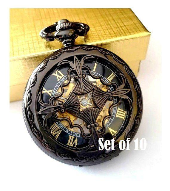 7034737f18f63 Pocket Watch Set of 10 Personalised Groomsmen Gift Engraved Pocket Watch  Gunmetal Black Celtic Love