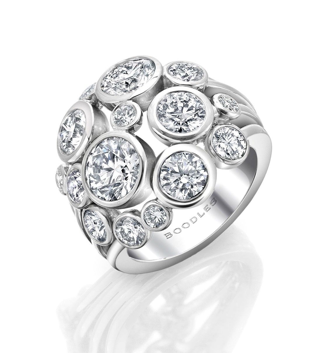 An Impressive, Contemporary Diamond Ring From Boodles' Raindance Collection  ~ 2 Main Diamonds Certificated