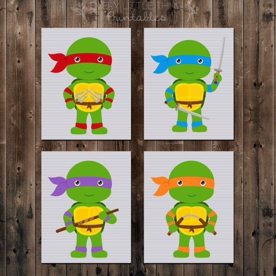 Set of Four Teenage Mutant Ninja Turtles by ELTPrintables on Etsy ...