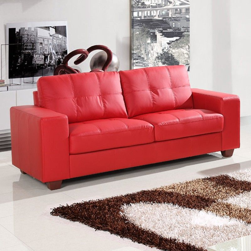 Nice Red Leather Sofa Couch Luxury, Red Leather Sofa And Loveseat Set