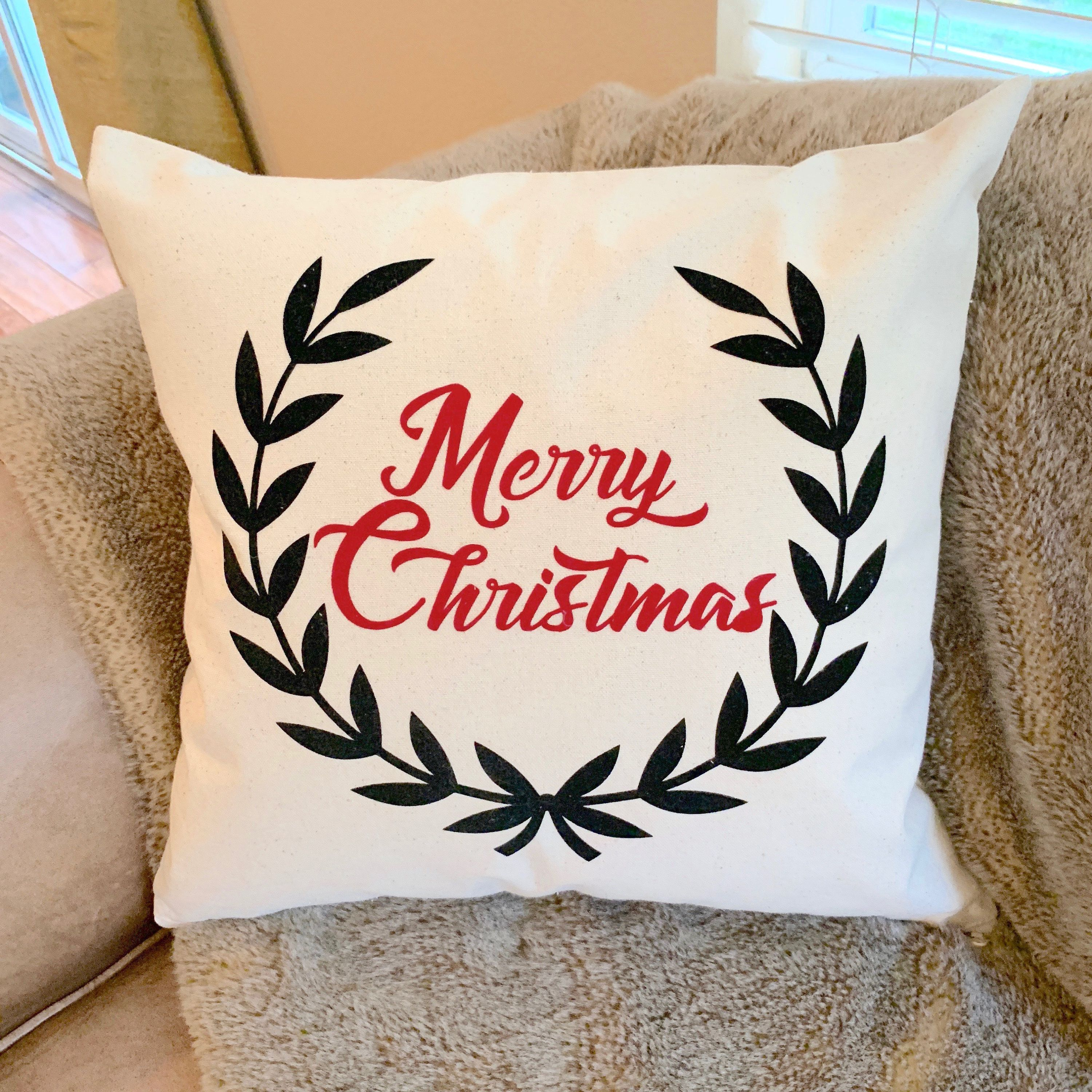Natural Cotton Canvas Holiday Pillow Cover, Merry