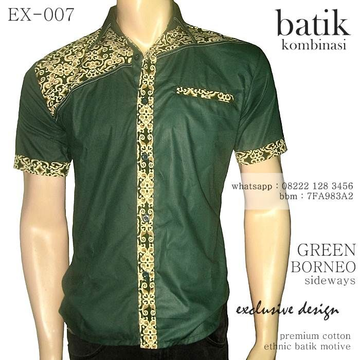 Kemeja Batik Pria Sutra: Batik Kombinasi Pria Warna HIJAU