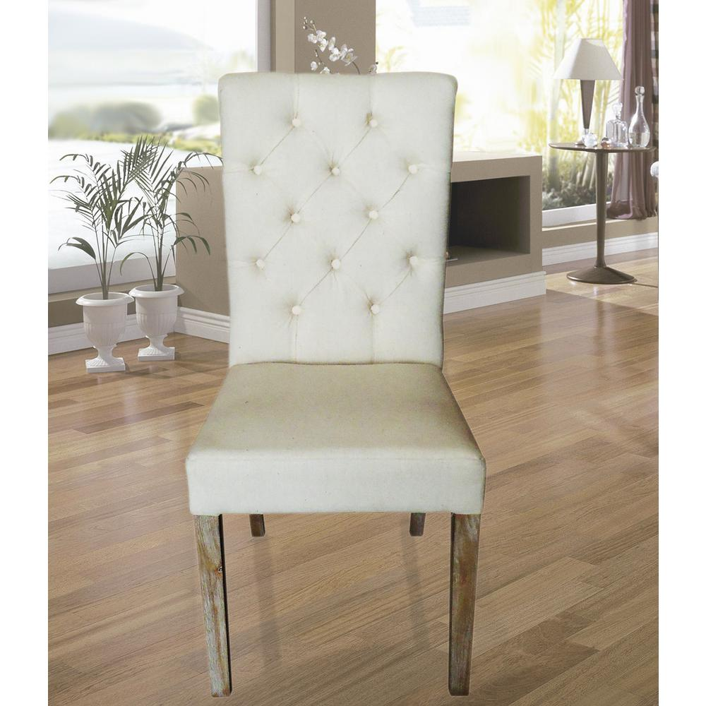 Home Accents Alliance Beige Linen Parsons Rolled Back Dining Chair Set Of 2