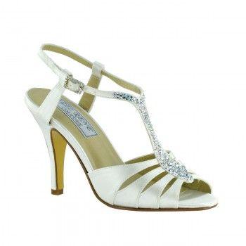 Bliss Satin Rhinestone Accented T Strap Dress Sandal Women