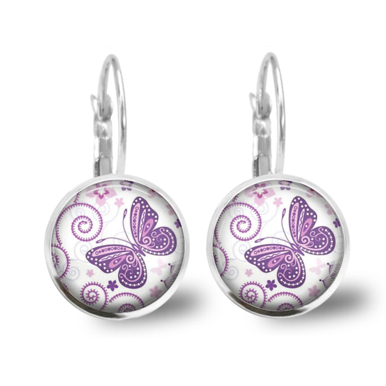 Chatterbox City - Butterfly Lever Back Glass Cabochon Earrings, $10.00 (http://www.chatterboxcity.com.au/butterfly-lever-back-glass-cabochon-earrings/)