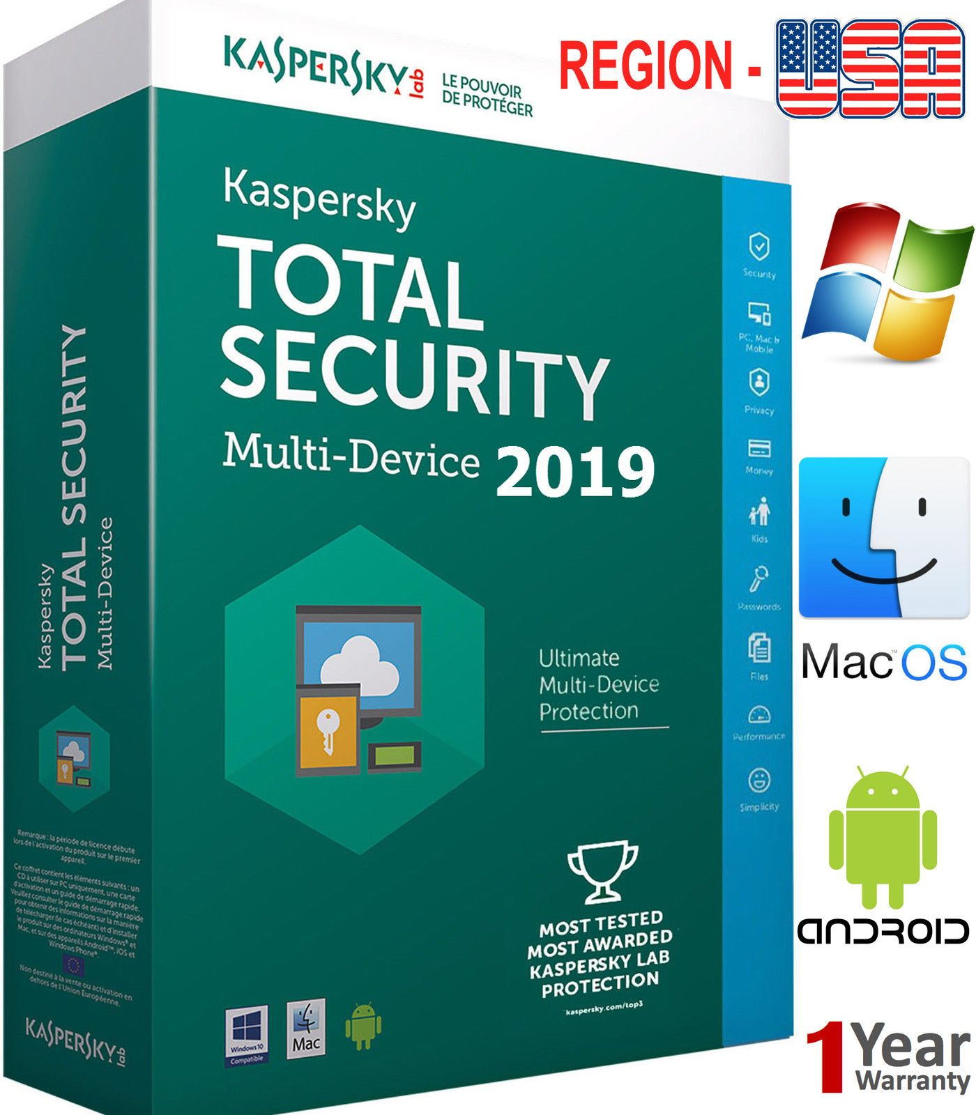 Details About Kaspersky Total Security 2020 5 Pc 1 Year 5 Device Download For Americas Computer Security Security Internet Security