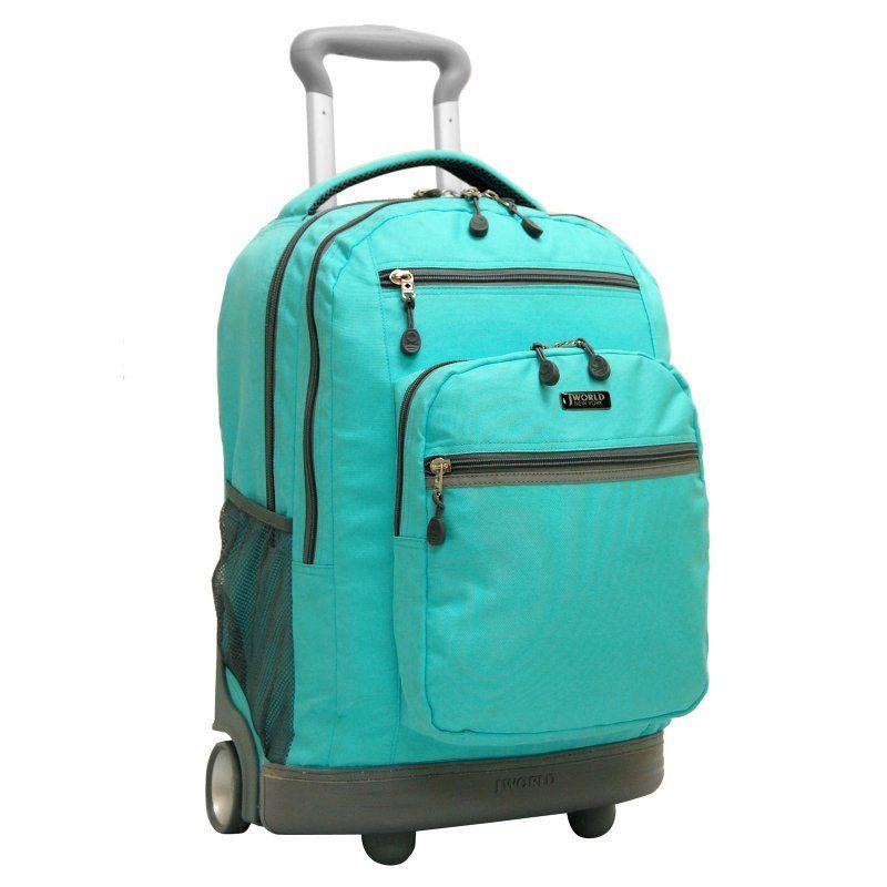 859f2eb898 J World Sundance II 19.5 in. Laptop Rolling Backpack Seafoam - RB-19 SEAFOAM