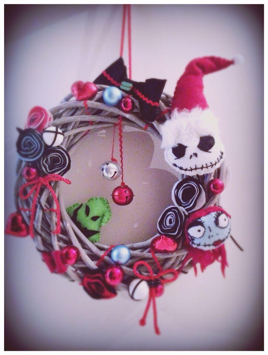 Handmade Felt Wreath. Nightmare Before Christmas Inspired | Wish ...