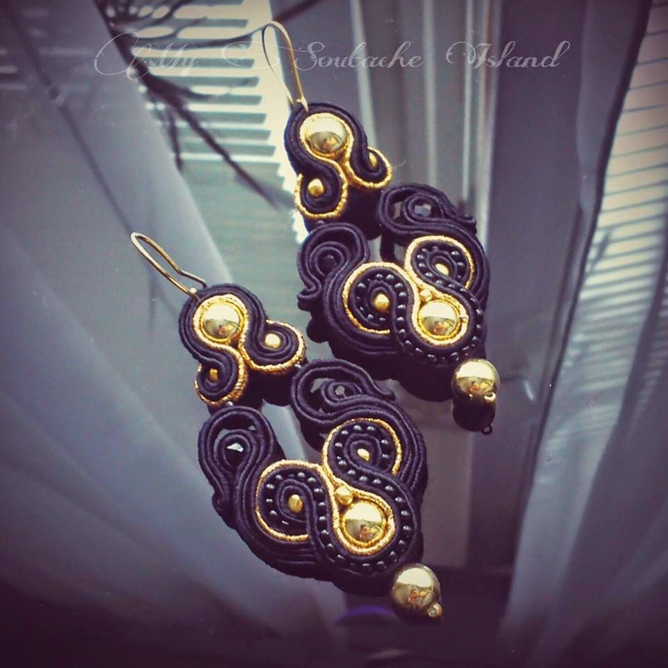 Soutache black and gold earrings