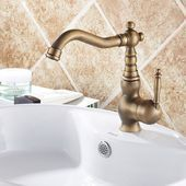 Photo of Vintage Deck mounted antique brass bathroom faucet basin sink mixer water tap wi…